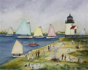 "Jan Munro Mixed Media on Paper ""Rainbow Fleet Rounding"