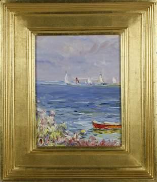 Jan Pawlowski Oil on Canvas Sailing in Polpis