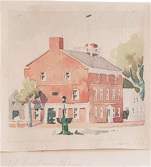 "Doris and Richard Beer Nantucket Watercolor, ""Old"