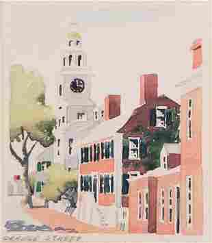 """Doris and Richard Beer Watercolor on Paper, """"Orange"""