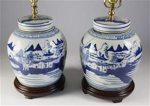 Pair of Chinese Blue and White Porcelain Ginger Jar