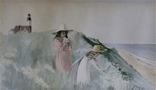 """Jane Brewster Reid Watercolor on Paper """"Two Young Girls"""