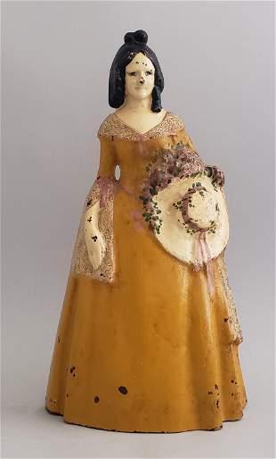 Antique Figural Southern Belle Cast Iron Doorstop