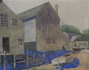 """S.H. Stevens Rare Nantucket Watercolor on Paper """"The"""