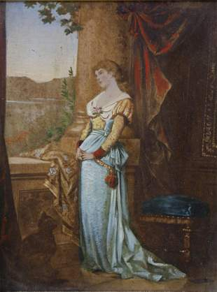 Miniature Portrait Oil on Board of a Woman, 19th
