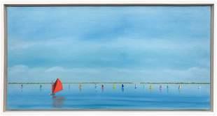 """Robert Stark Jr. Oil on Canvas """"Rainbow Fleet Sailing"""