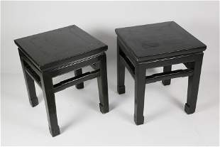 Pair of Chinese Export Black Lacquered Side Tables,
