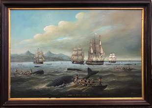 """Brian Coole Oil on Board """"A Shoal of Sperm Whale, 1833"""""""