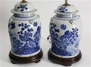 Pair of Chinese Blue and White Porcelain Temple Covered
