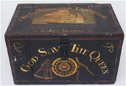 """Vintage Nautical Decorated Trunk, """"God Save The Queen"""""""