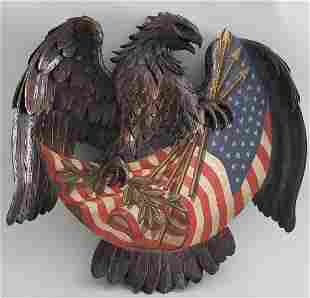 Carved and Painted American Eagle Plaque, 19th Century