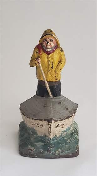 "Antique Cast Iron Old Salt, ""Captain Erie"", Doorstop"