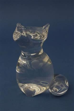 Signed Steuben Clear Crystal Fox Designed by Lloyd