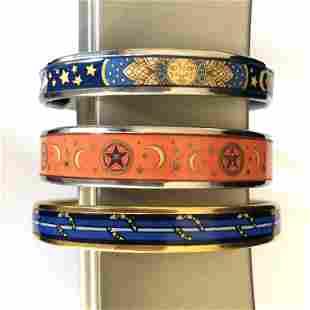 Group of 3 Hermès Enamel Bangle Bracelets