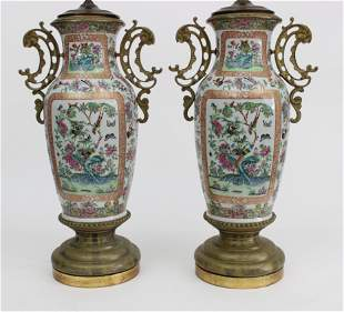 Pair of Ormolu Mounted Chinese Export Famille Rose