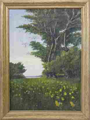 "James Francis Barker Oil on Canvas ""Hidden Forest"
