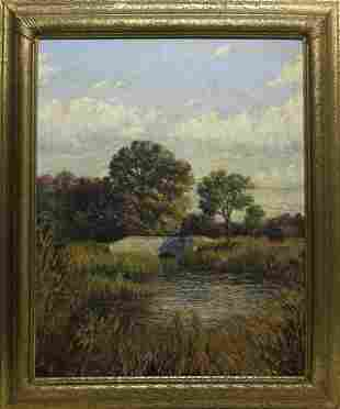 """James Francis Barker Oil on Canvas """"New England River"""
