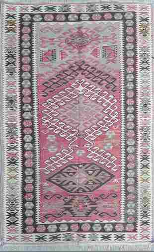 Vintage Kilim Flat Woven Oriental Carpet
