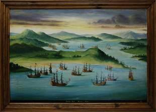 "Contemporary Oil on Board ""Treasure Fleet Havana"