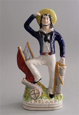 19th Century English Staffordshire Sailor Figurine