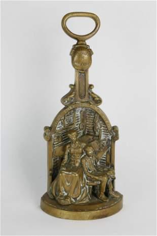 """Rare Antique Figural Bronze Doorstop """"The Boyhood of"""