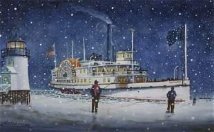 "John Hutchinson Watercolor on Paper, ""Nantucket Side"