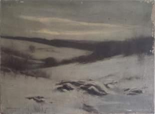 """Frederick V Baker Antique Oil on Canvas, """"Solitude"""","""