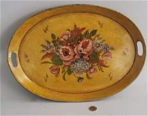 Antique French Tole Paint and Floral Decorated Oval
