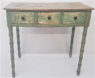 English Paint Decorated Three Drawer Writing Table,