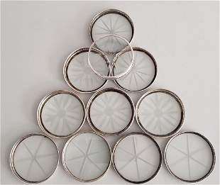 11 Sterling Silver and Crystal Coasters