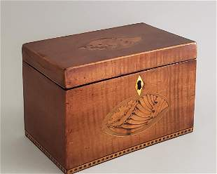 English Tiger Maple Shell Inlaid Double Compartment Tea
