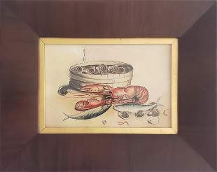"""Antique Still Life Watercolor on Paper, """"Lobster"""