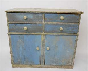 American Country Blue Painted Cupboard, 19th Century