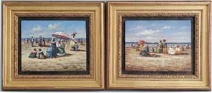 """Two Decorative Oil on Board Paintings, """"Beachside"""