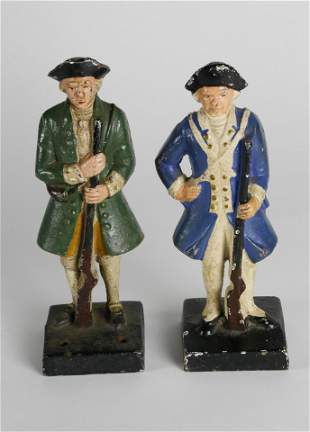 Two Cast Iron Hand Painted Colonial Minute Man