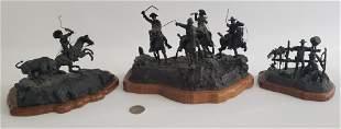 Three Jan Hana Miniature Figural Western Bronze
