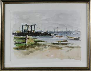 """David Lazarus Watercolor on Paper """"Harbor Seascape"""""""