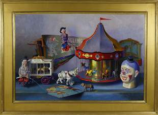 """Sid Willis Oil on Panel """"Carousel"""""""