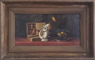 "Stanley Crane Antique Still Life Painting, ""Golden"