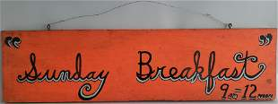 "Vintage Hand Painted Sign, ""Sunday Breakfast 9-12"", on"