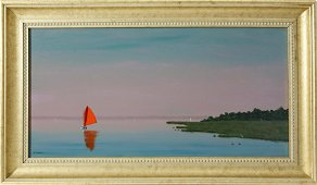 """Robert Stark Jr. Oil on Canvas """"Red Sail Off the Point"""""""
