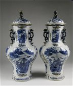 Pair of Chinese Export Porcelain Blue Baluster Vases