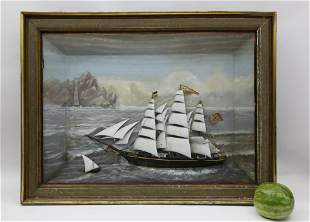 Monumental American Shadowbox of Nantucket Whaleship