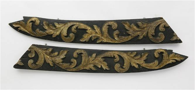 Pair of Carved and Gilt Ship's Rake Boards