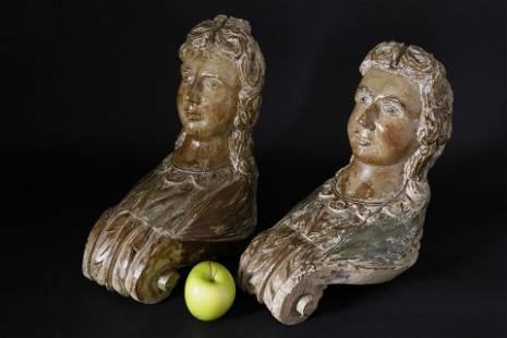 Pr. of Miniature Figurehead Style Polychromed Carvings