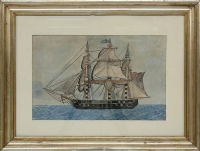 """Watercolor """"Portrait of a Three-Masted Gunboat"""""""