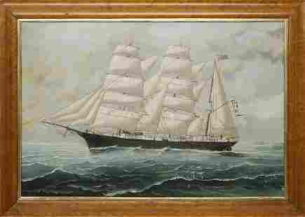 "Tom G. Purvis Oil on Canvas ""British Barque"""