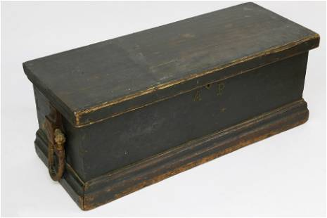 American Sea Chest in Green Paint, circa 1840
