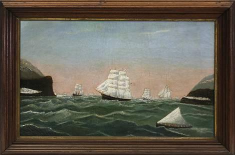 American Primitive Maritime Oil on Canvas