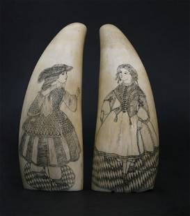 Pair of Antique Scrimshaw Whale Teeth